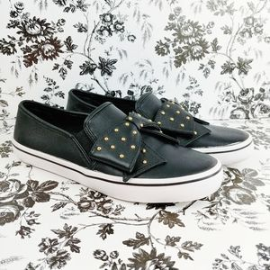 Kate Spade gold studded bow slip on sneakers 6.5